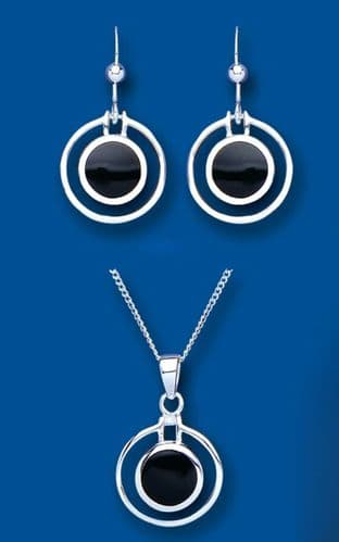 Onyx Pendant and Earrings Set Solid Silver Natural Stones