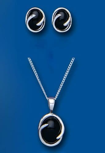 Onyx Pendant and Earrings Set Solid Silver Oval Design