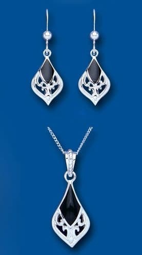 Onyx Pendant and Earrings Set Solid Sterling Silver