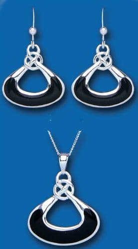 Onyx Set Solid Silver Pendant and Drop Earrings Hallmarked