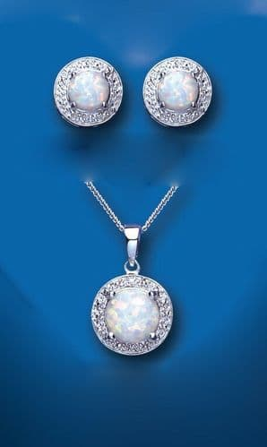 Opal and Diamond Pendant and Earrings Set Solid Sterling Silver