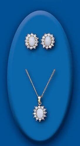Opal Pendant and Earrings Set Cluster Solid Yellow Gold Hallmarked