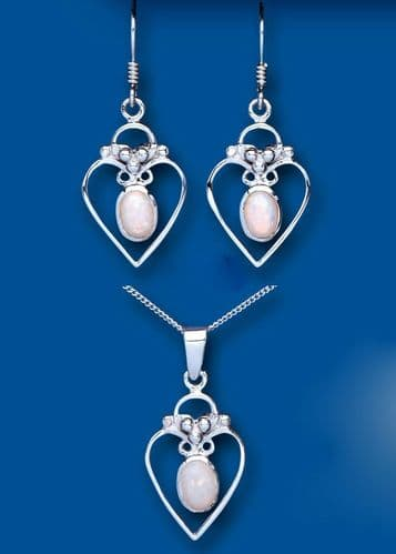 Opal Pendant and Earrings Set Solid Sterling Silver Hearts