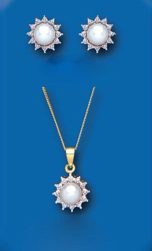 Pearl and Diamond Set Yellow Gold Pendant and Earrings Freshwater Cultured