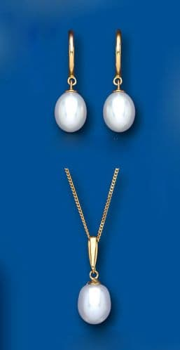 Pearl Pendant and Earring Set Solid Yellow Gold Hallmarked Cultured Freshwater