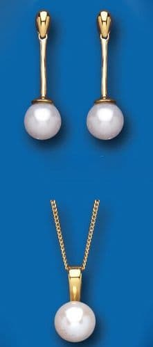Pearl Set Yellow Gold Classic Pendant and Drop Earrings Hallmarked British Made