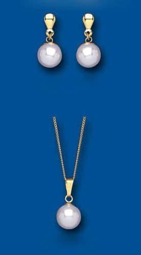 Pearl Set Yellow Gold Classic Pendant and Earrings Drops Hallmarked British Made