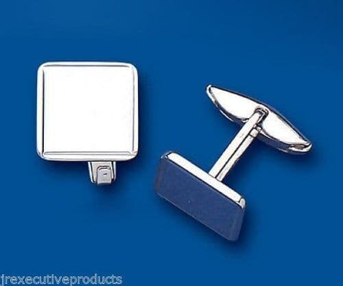 Plain Square Cufflinks Solid Sterling Silver