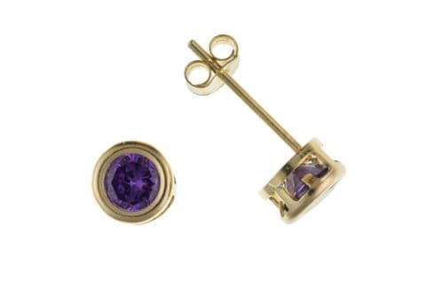 Real Amethyst Solitaire Earrings Yellow Gold Stud Studs