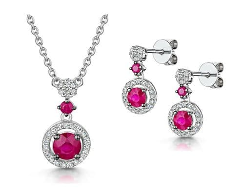 Ruby and Diamond Necklace and Earrings White Gold Evening Formal Certificate