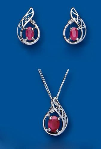 Ruby and Diamond Set Pendant and Earrings Solid Sterling Silver