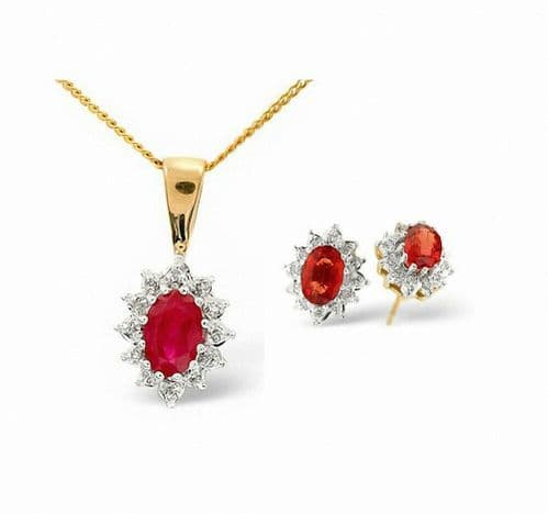 Ruby and Diamond Set Pendant and Earrings Yellow Gold