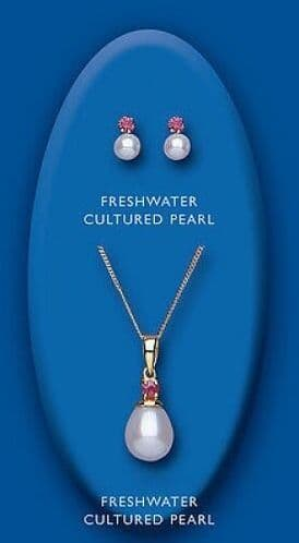 Ruby and Pearl Pendant and Earrings Set Solid Yellow Gold Hallmarked Freshwater
