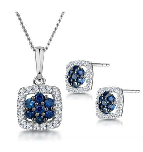 Sapphire and Diamond Pendant and Earrings Set Ladies Halo White Gold Certificate