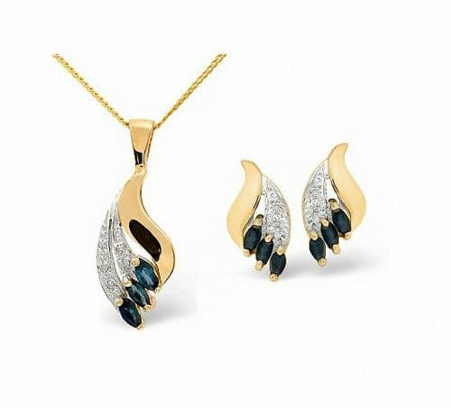 Sapphire and Diamond Set Pendant and Earrings Yellow Gold.