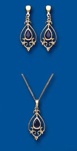 Sapphire Earrings and Pendant Set Solid Yellow Gold Hallmarked Victorian style