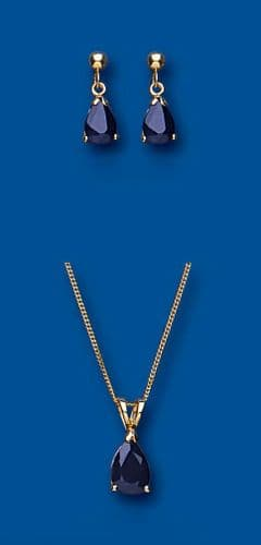 Sapphire Pendant and Earrings Set Yellow Gold Solid Hallmarked Pear Drop