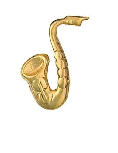 Saxaphone Lapel Pin Cravat Pin 9ct Gold Made in Jewellery Quarter Bham RRP £113