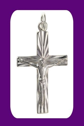 Silver Diamond Cut Crucifix Pendant Sterling Silver 925 Stamp All Chain Lengths
