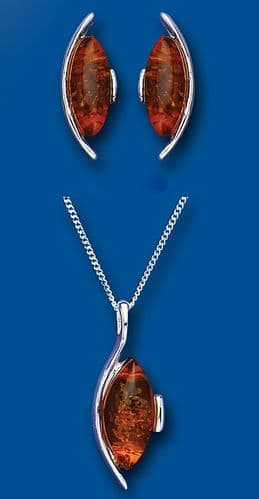Solid Silver Amber Pendant and Earrings Set Marquise Design