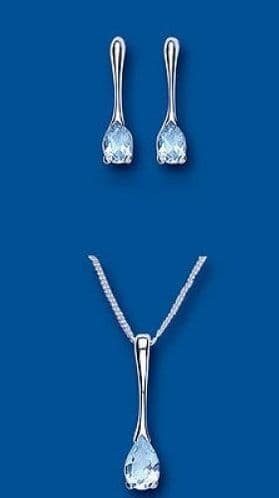 Solid Silver Blue Topaz Pendant and Earrings Set