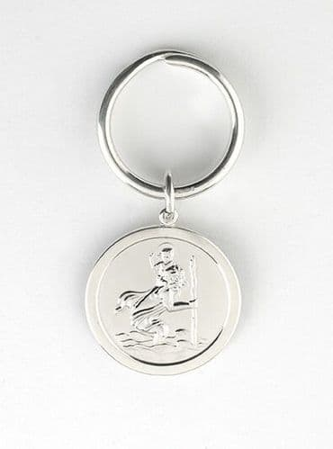 Solid Silver Key Ring St Christopher Hallmarked Handmade