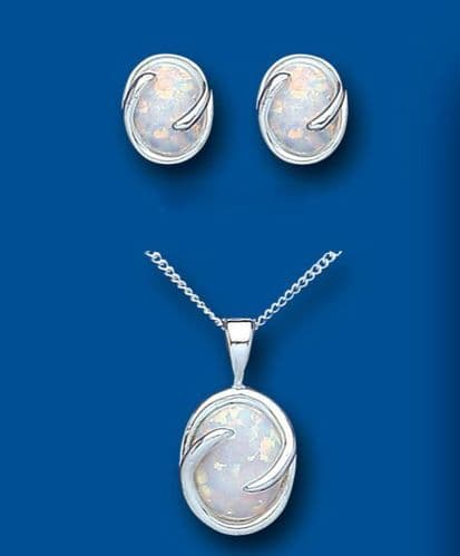 Solid Silver Opal Pendant and Earrings Set
