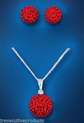 Solid Silver Pendant and Drop Earrings Set Red Austrian Crystal
