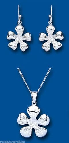 Solid Silver Pendant and Earrings Set Flower Design