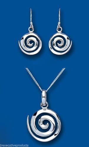 Solid Silver Pendant and Earrings Set Spiral Design