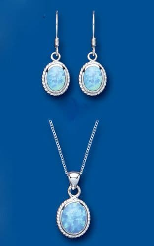 Solitaire Blue Opal Pendant and Earrings Set Solid Sterling Silver Oval