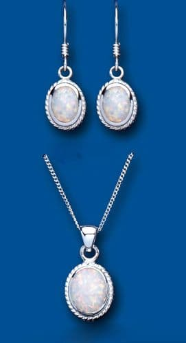 Solitaire Opal Pendant and Earrings Set Solid Sterling Silver Oval