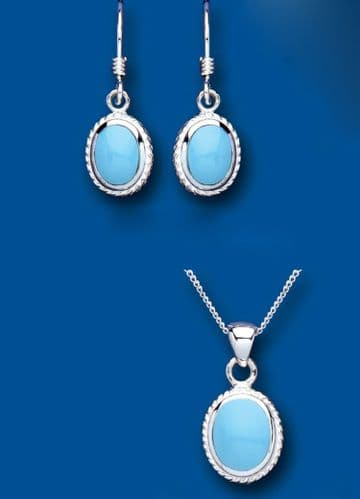 Solitaire Turquoise Pendant and Earrings Set Solid Sterling Silver Oval