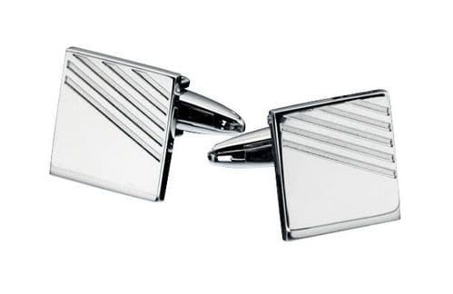 Square Cufflinks Fred Bennett Stainless Steel Cufflinks With Ribbed Details