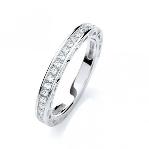 Sterling Silver Eternity Ring Three Quarter Gemstone Set 925 Hallmarked J Jaz