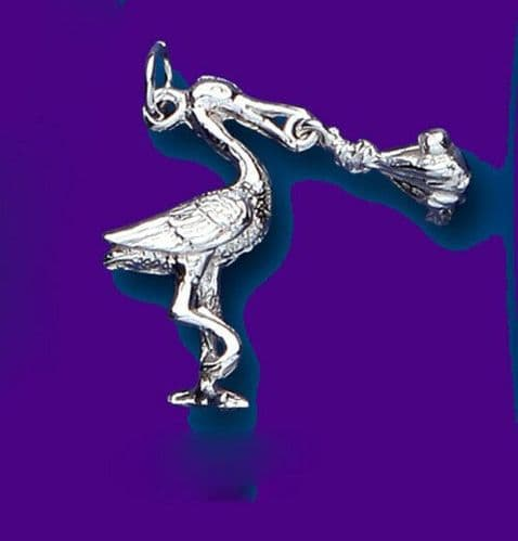 "Stork and Baby Pendant Sterling Silver 925 Hallmark Christening 14 - 30"" Chain"