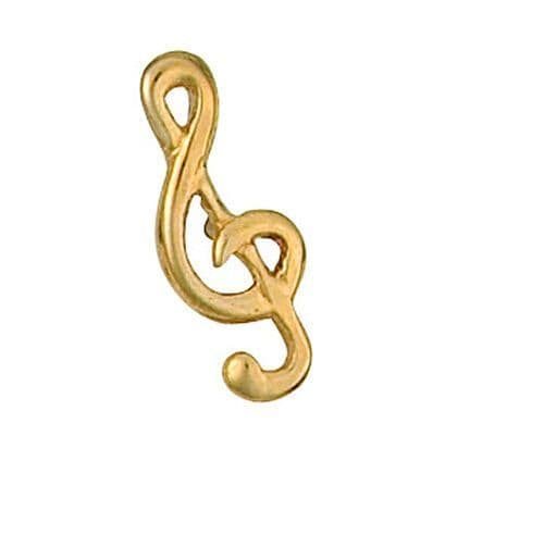 Treble Clef Tie Tack 9ct Yellow Gold Made To Order in Jewellery Quarter B'ham
