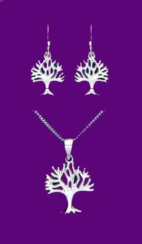 Tree of Life Set Pendant and Drop Earrings Sterling Silver 925 Hallmark Box New