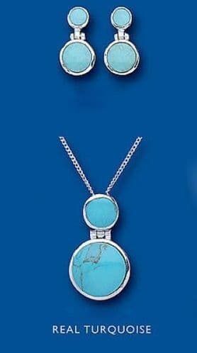 Turquoise Pendant and Earrings Set Solid Sterling Silver