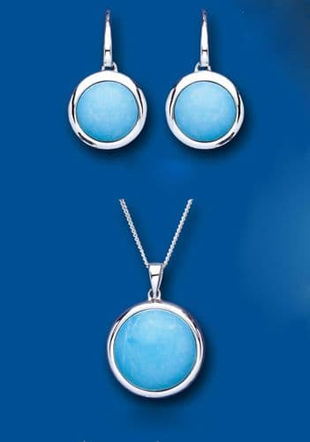 Turquoise Pendant and Earrings Set Solid Sterling Silver Natural Stones