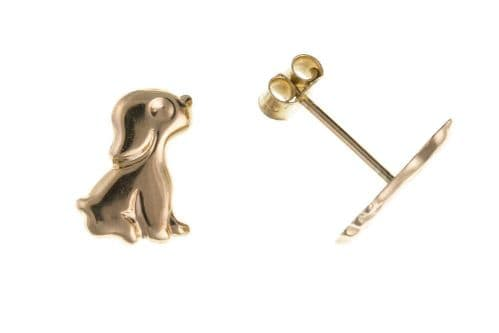 Yellow Gold Puppy Earrings Dog Studs Doggy Stud