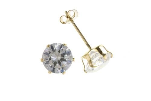 Yellow Gold Solitaire Studs Sparkly Gemstone Stud Earrings 3mm