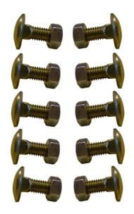 M10 X 30mm Cup Square Bolts & Nuts x10