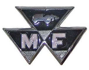 Massey Ferguson Tractor 35 Chrome Front Badge (coloured 65mm pin centres)