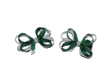 Bow Clips - Green/White