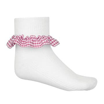 Girls Gingham Socks - Three Pair Pack - GS3200 - PINK