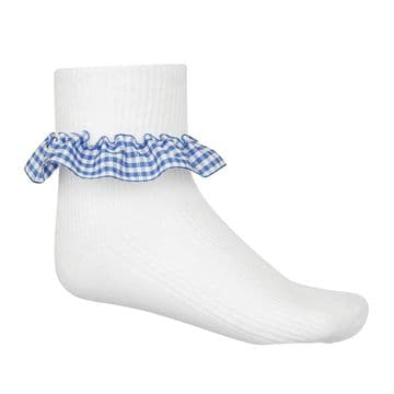 Girls Gingham Socks - Three Pair Pack - GS3200 - SKY BLUE