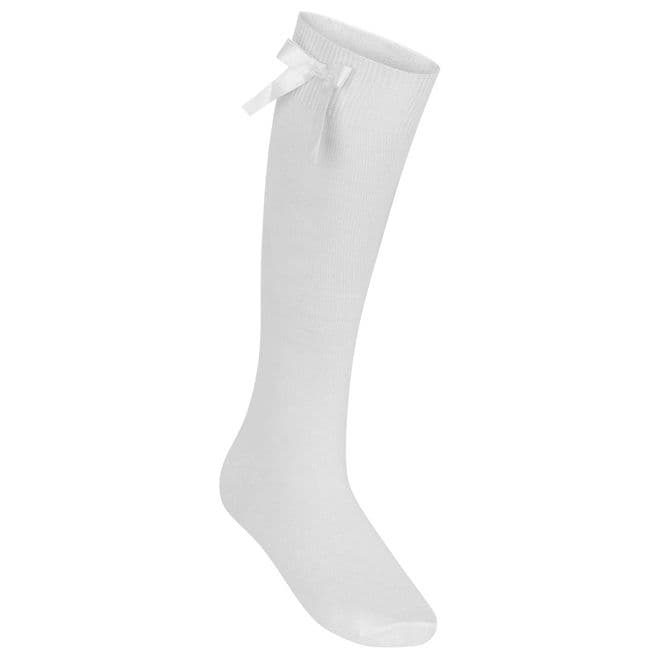 Girls Knee High Socks With Bow - One Pair Pack - GS3430 - WHITE