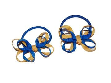 Pony Elastic Bows - Royal/Gold
