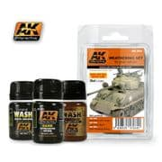 WEATHERING SET FOR GREEN VEHICLES<br> AK064